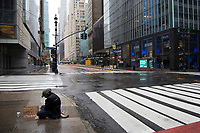 NEW YORK, NY - APRIL 24: View of a homeless in the rain on April 24, 2020 in New York, NY. New York State Governor Andrew Cuomo, during his daily talk on Covid-19, stated that the number of deaths has dropped to its lowest total since April 1. COVID-19 has spread worldwide, causing more than 190,000 lives lost and more than 2.7 million reported infections. (Photo by Pablo Monsalve / VIEWpress via Getty Images)