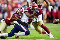 Landover, MD - November 18, 2018: Houston Texans wide receiver Keke Coutee (16) is sandwiched between two Washington Redskins defenders during second half action of game between the Houston Texans and the Washington Redskins at FedEx Field in Landover, MD. The Texans defeated the Redskins 23-21. (Photo by Phillip Peters/Media Images International)