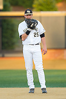 Wake Forest Demon Deacons first baseman Matt Conway (25) on defense against the High Point Panthers at Wake Forest Baseball Park on April 2, 2014 in Winston-Salem, North Carolina.  The Demon Deacons defeated the Panthers 10-6.  (Brian Westerholt/Four Seam Images)