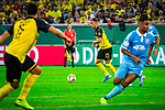 09.08.2019, Merkur Spiel-Arena, Düsseldorf, GER, DFB Pokal, 1. Hauptrunde, KFC Uerdingen vs Borussia Dortmund , DFB REGULATIONS PROHIBIT ANY USE OF PHOTOGRAPHS AS IMAGE SEQUENCES AND/OR QUASI-VIDEO<br /> <br /> im Bild | picture shows:<br /> Thorgan Hazard (Borussia Dortmund #23) am Ball, <br /> <br /> Foto © nordphoto / Rauch