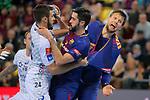 VELUX EHF 2017/18 EHF Men's Champions League Last 16.<br /> FC Barcelona Lassa vs Montpellier HB: 30-28.<br /> Baptiste Bonnefond, Raul Entrerrios &amp; Kamil Syprzak.