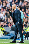 Manager Zinedine Zidane of Real Madrid reacts during the La Liga 2017-18 match between Real Madrid and Sevilla FC at Santiago Bernabeu Stadium on 09 December 2017 in Madrid, Spain. Photo by Diego Souto / Power Sport Images