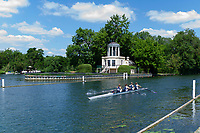"Henley on Thames, United Kingdom, 22nd June 2018, Friday,   ""Henley Women's Regatta"",  General view,   Women's Quadruple Sculls"", passing the Folly on Temple Island, Competitors, Rowing-Sculling, Training, Henley Reach, Thames Valley,  River Thames, England, © Peter SPURRIER"