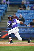 Binghamton Rumble Ponies left fielder Champ Stuart (2) at bat during a game against the Akron RubberDucks on May 12, 2017 at NYSEG Stadium in Binghamton, New York.  Akron defeated Binghamton 5-1.  (Mike Janes/Four Seam Images)