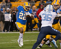 Pitt running back Darrin Hall (22) scores on a 7-yard touchdown run. The North Carolina Tarheels defeated the Pitt Panthers football team 34-31 at Heinz Field, Pittsburgh, Pennsylvania on November 9, 2017.