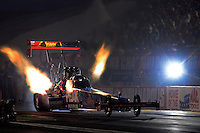 Aug. 31, 2012; Claremont, IN, USA: NHRA top fuel dragster driver T.J. ZIzzo during qualifying for the US Nationals at Lucas Oil Raceway. Mandatory Credit: Mark J. Rebilas-