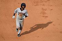 Right fielder Franklin Rollin (40) of the Hickory Crawdads rounds second base after hitting a home run in a game against the Greenville Drive on Sunday, July 16, 2017, at Fluor Field at the West End in Greenville, South Carolina. Hickory won, 3-1. (Tom Priddy/Four Seam Images)