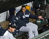 New York Yankees pitcher Freddy Garcia (36) tries to explain his performance to a teammate after he was replaced in the fifth inning against the Baltimore Orioles at Oriole Park at Camden Yards in Baltimore, MD on Tuesday, April 10, 2012..Credit: Ron Sachs / CNP.(RESTRICTION: NO New York or New Jersey Newspapers or newspapers within a 75 mile radius of New York City)