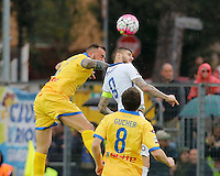 Leonardo Blanchard  jump for the ball Mauro Emanuel Icardi  during the  italian serie a soccer match,between Frosinone and Inter      at  the Matusa   stadium in Frosinone  Italy , April 09, 2016
