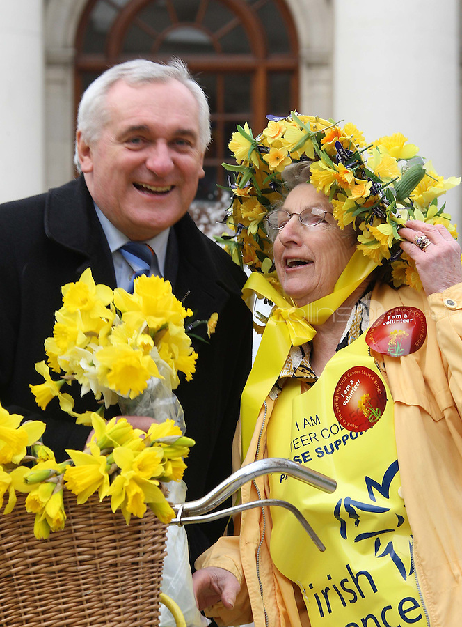 06/03/'08 Taoiseach Bertie Ahern pictured with long standing Dublin Based Irish Cancer Society Volunteer Dora Bracken at Government Buildings this afternoon where he delivered a bunch of daffodils to the veteran to mark the Irish Cancer Society's Daffodil Day which takes place tomorrow, 7th March...Picture Collins, Dublin, Colin Keegan.