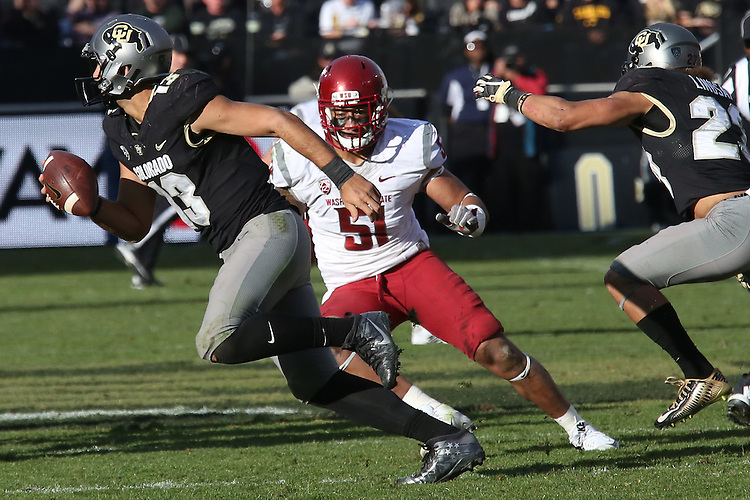 Frankie Luvu (51), Washington State linebacker, dials in on Colorado's quarterback during the Cougars Pac-12 Conference road game battle between the leaders of the South and North Divisions with the Buffaloes on November 19, 2016, at Folsom Field in Boulder, Colorado.