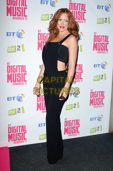 Natasha Hamilton.BT Digital Music Awards held at the Roundhouse, Chalk Farm, London, England..September 29th 2011.full length black overalls dungarees boob tube belly stomach midriff side .CAP/CJ.©Chris Joseph/Capital Pictures.