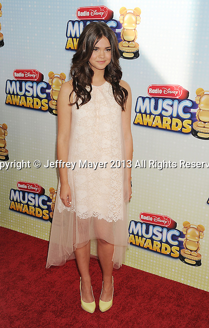 LOS ANGELES, CA- APRIL 27: Actress Maia Mitchell arrives at the 2013 Radio Disney Music Awards at Nokia Theatre L.A. Live on April 27, 2013 in Los Angeles, California.