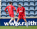 Raith's Greig Spence (10) celebrates with Grant Anderson (7) after he scores Rovers' goal ...