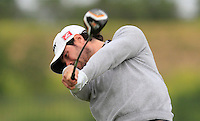 Niccolo Quintarelli (ITA) on the 1st tee during Round 1 of the Challenge de Madrid, a Challenge  Tour event in El Encin Golf Club, Madrid on Wednesday 22nd April 2015.<br /> Picture:  Thos Caffrey / www.golffile.ie