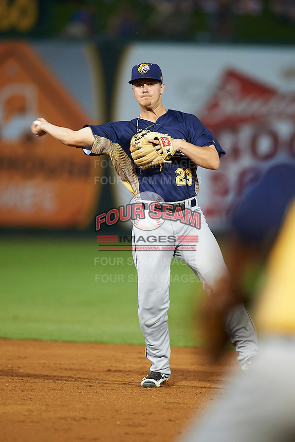 Burlington Bees second baseman Brendon Sanger (23) throws to first during a game against the South Bend Cubs on July 22, 2016 at Four Winds Field in South Bend, Indiana.  South Bend defeated Burlington 4-3.  (Mike Janes/Four Seam Images)