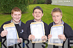 Killarney Community College students l-r: Patrick Taylor, Jack Mulrooney and Herbert Markowski celebrate after receiving the Junior Cert results on Wednesday