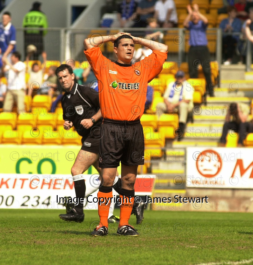 12th May 2001   Copyright Pic : James Stewart .Ref :                           .File Name : stewart11-st johnstone v dundee utd.CHARLIE MILLER HOLDS HIS HEAD AFTER MISSING THE PENALTY......James Stewart Photo Agency, Stewart House, Stewart Road, Falkirk. FK2 7AS      Vat Reg No. 607 6932 25.Office : +44 (0) 1324 630007     Mobile : 07721 416997.Fax     :  +44 (0) 1324 630007.E-mail : jim@jspa.co.uk.If you require further information then contact Jim Stewart on any of the numbers above.........