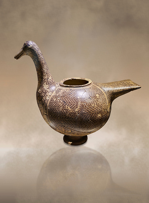 Phrygian pottery vessel in the shape of a goose decorated with geometric deigns from Gordion. Phrygian Collection, 8th century BC - Museum of Anatolian Civilisations Ankara. Turkey. Against an art background