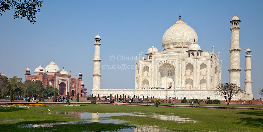Agra, India.  Taj Mahal, with Mosque in Background.