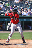 Kennys Vargas (67) of the Minnesota Twins at bat during a Grapefruit League Spring Training game at the Roger Dean Complex on March 4, 2014 in Jupiter, Florida. Miami defeated Minnesota 3-1. (Stacy Jo Grant/Four Seam Images)