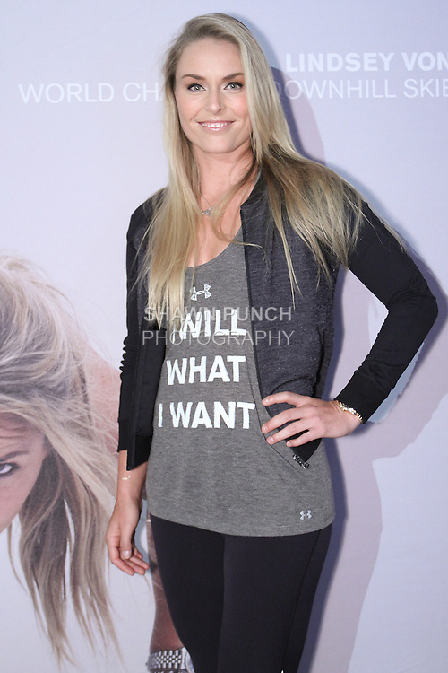 "Lindsey Vonn, Olympic gold metal skier on stage at the Under Armour, ""I will what I want"" global women's campaign launch, on July 31, 2014, in New York City."