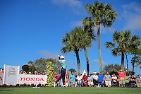 Hudson Swafford (USA) watches his tee shot on 18 during round 2 of the Honda Classic, PGA National, Palm Beach Gardens, West Palm Beach, Florida, USA. 2/24/2017.<br /> Picture: Golffile | Ken Murray<br /> <br /> <br /> All photo usage must carry mandatory copyright credit (&copy; Golffile | Ken Murray)
