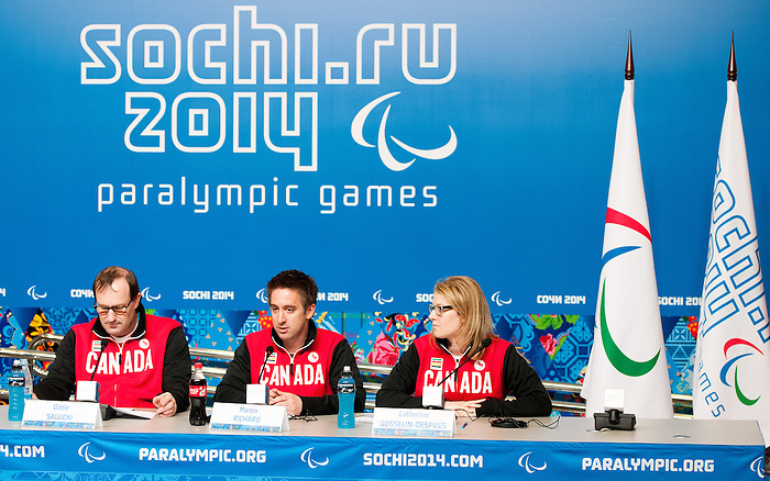 Sochi, RUSSIA - Mar 5 2014 -  Ozzie Sawicki, Martin Richard and Catherine Gosselin-Despres at Canada's flag bearer announcement prior to the Sochi 2014 Paralympic Winter Games in Sochi, Russia.  (Photo: Matthew Murnaghan/Canadian Paralympic Committee)