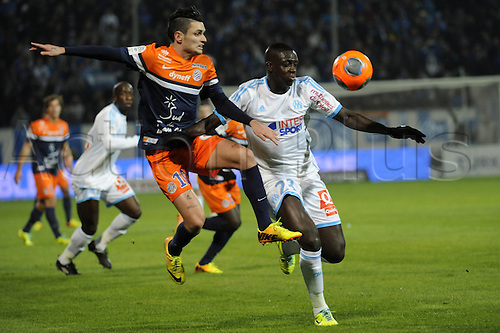 29.11.2013. Marseilles, France. French League 1 football. Marseilles versus Montpellier.  Cabella (MHSC) - Mendy (OM)