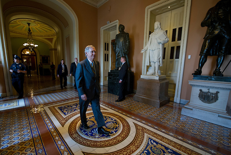 UNITED STATES - July 18: U.S. Senator Mitch McConnell, R-KY., walks though the U.S. Capitol on July 18, 2013. (Photo By Douglas Graham/CQ Roll Call)