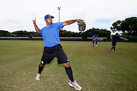 19 September 2012: France Keino Perez warms up prior to Team France friendly game won 6-3 against Palm Beach State College, during the 2012 World Baseball Classic Qualifier round, in Lake Worth, Florida, USA.
