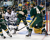 Corey Carlson (Vermont - 13), Sean Backman (Yale - 16), Josh Burrows (Vermont - 22), Patrick Cullity (Vermont - 4) - The University of Vermont Catamounts defeated the Yale University Bulldogs 4-1 in their NCAA East Regional Semi-Final match on Friday, March 27, 2009, at the Bridgeport Arena at Harbor Yard in Bridgeport, Connecticut.
