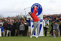 Jon Rahm (ESP) on the 17th tee during Round 4 of the Open de Espana 2018 at Centro Nacional de Golf on Sunday 15th April 2018.<br /> Picture:  Thos Caffrey / www.golffile.ie<br /> <br /> All photo usage must carry mandatory copyright credit (&copy; Golffile | Thos Caffrey)