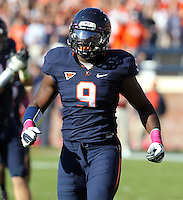 Oct. 22, 2011 - Charlottesville, Virginia - USA; Virginia Cavaliers linebacker LaRoy Reynolds (9) during an NCAA football game against the North Carolina State Wolfpack at the Scott Stadium. NC State defeated Virginia 28-14. (Credit Image: © Andrew Shurtleff
