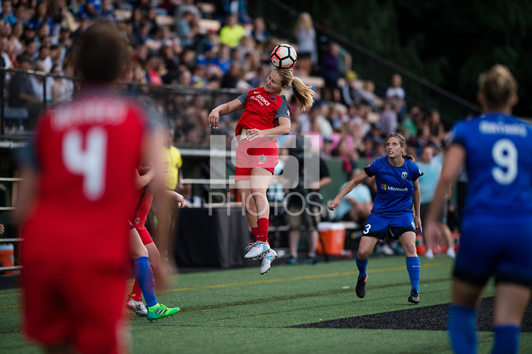 Seattle, WA - Saturday, July 1, 2017: Lindsey Horan during a regular season National Women's Soccer League (NWSL) match between the Seattle Reign FC and the Portland Thorns FC at Memorial Stadium.
