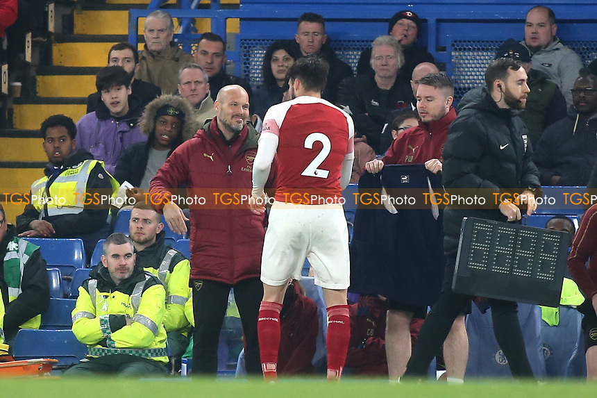 Freddie Ljungberg, Head Coach of the Arsenal U23 team, has a friendly word with Carl Jenkinson who was substituted in the second half during Chelsea Under-23 vs Arsenal Under-23, Premier League 2 Football at Stamford Bridge on 15th April 2019