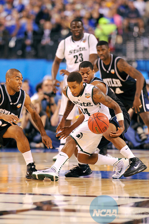 3 APR 2010: Korie Lucious (34) of Michigan State battles for control of the ball during the semi final game of the Men's Final Four Basketball Championships held at Lucas Oil Stadium in Indianapolis, IN. Butler University went on to defeat Michigan State University 52-50 to advance to the championship game. Ryan McKee/NCAA Photos