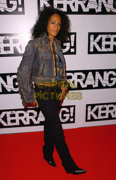 JADA PINKETT SMITH.Arrivals - Kerrang! Magazine's 25th Birthday Party,.Sin Nightclub, London, England,.June 12th 2006..full length pinkett-smith black skinny jeans denim jacket waistcoat necklaces.Ref: CAN.www.capitalpictures.com.sales@capitalpictures.com.©Can Nguyen/Capital Pictures