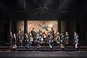 "London, UK. 04.10.2017. Ninagawa Company presents William Shakespeare's ""Macbeth"" at the Barbican Centre.  This production is directed by Yukio Ninagawa, with set design by Kappa Senoh and lighting design by Sumio Yoshii. The cast is: Masachika Ichimura (Macbeth), Yuko Tanaka (Lady Macbeth), Kazunaga Tsuji (Banquo), Keita Oishi Macduff), Tetsuro Sagawa King Duncan).  Picture shows: Ryutarou Akimoto (Donalbain), , Tetsuro Sagawa (King Duncan), Hayata Tateyama (Malcolm), Kazunaga Tsuji (Banquo). Photograph © Jane Hobson."
