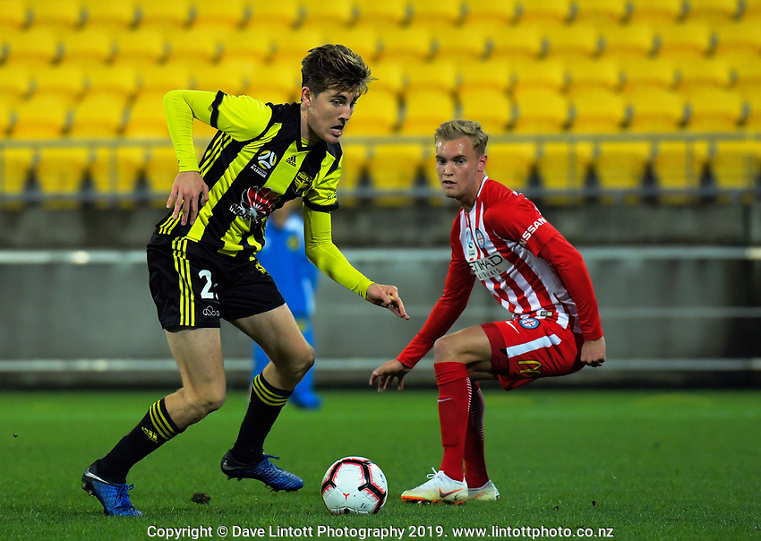 Max Burgess in action during the A-League football match between Wellington Phoenix and Melbourne City FC at Westpac Stadium in Wellington, New Zealand on Sunday, 21 April 2019. Photo: Dave Lintott / lintottphoto.co.nz