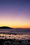 Crecent moon at dawn above Bahia de los Angeles, Baja California, Mexico