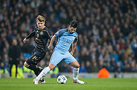 Nolito of Manchester City turns Stuart Armstrong of Celtic during the UEFA Champions League GROUP match between Manchester City and Celtic at the Etihad Stadium, Manchester, England on 6 December 2016. Photo by Andy Rowland.