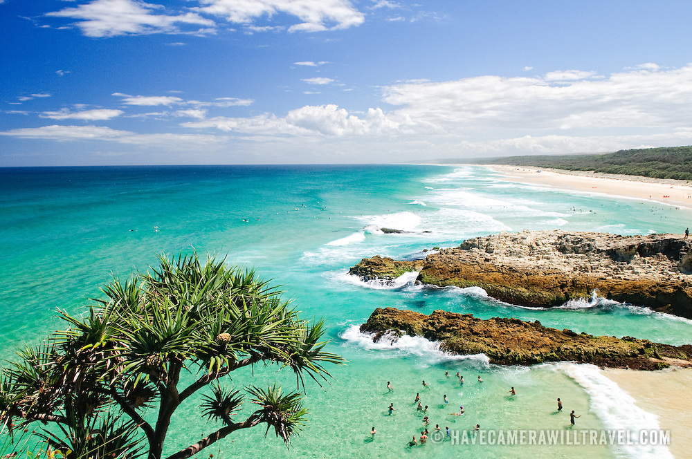 Rain Beach Emerald Coast Blue Sea Australia Ocean Summer: North Stradbroke Island Beautiful Ocean Surf Beaches