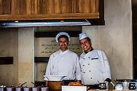 Chefs cooking breakfast, Evason Ma'in Hot Springs Resort, Jordan.