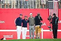 Phil Mickelson and Rickie Fowler (Team USA) with Thomas Pieters and Rory McIlroy (Team Europe) on the 1st tee during the Saturday morning Foursomes at the Ryder Cup, Hazeltine national Golf Club, Chaska, Minnesota, USA.  01/10/2016<br /> Picture: Golffile | Fran Caffrey<br /> <br /> <br /> All photo usage must carry mandatory copyright credit (&copy; Golffile | Fran Caffrey)