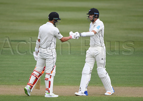 10th December 2017, Seddon Park, Hamilton, New Zealand; International Test Cricket, 2nd Test, Day 2, New Zealand versus West Indies;  Tim Southee (R) and Trent Boult during their last wicket partnership