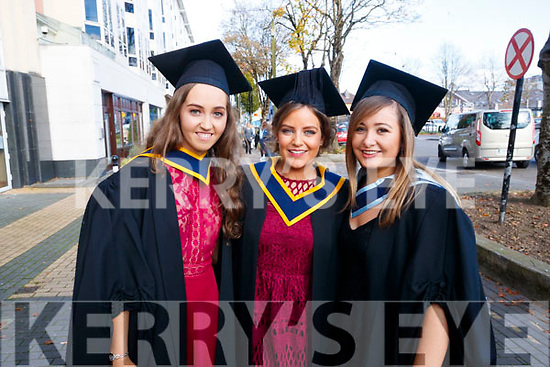 Elaine Finneran, Karen O'Sullivan and Elaine Healy, all from Cork, who graduated in General Nursing from IT Tralee, on Friday morning last, at the Brandon Conference Centre, Tralee.