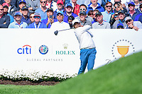 Anirban Lahiri (IND) watches his tee shot on 4 during round 3 Four-Ball of the 2017 President's Cup, Liberty National Golf Club, Jersey City, New Jersey, USA. 9/30/2017.<br /> Picture: Golffile | Ken Murray<br /> <br /> All photo usage must carry mandatory copyright credit (&copy; Golffile | Ken Murray)
