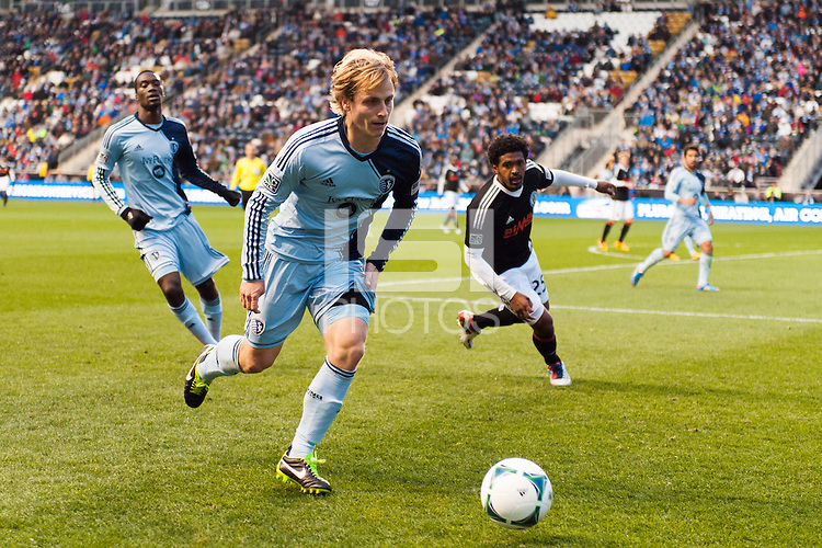Seth Sinovic (15) of Sporting Kansas City. Sporting Kansas City defeated the Philadelphia Union 3-1 during a Major League Soccer (MLS) match at PPL Park in Chester, PA, on March 2, 2013.