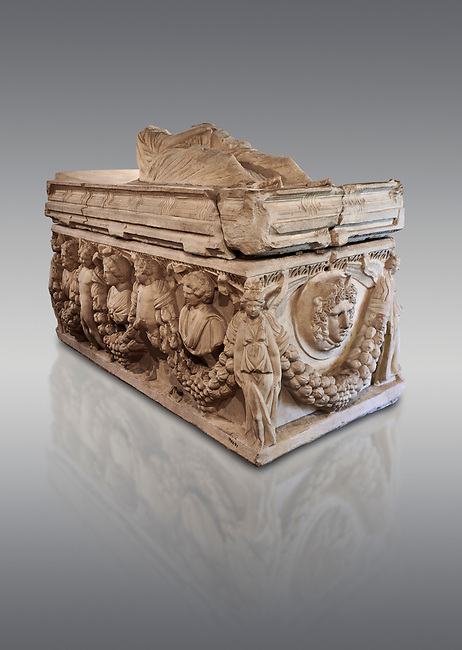 Roman relief garland  sculpted sarcophagus, style typical of Pamphylia, 3rd Century AD, Konya Archaeological Museum, Turkey. Against a grey background